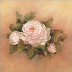 Burnished Roses Square II by Carolyn Cook Ceramic Tile Mural CC003