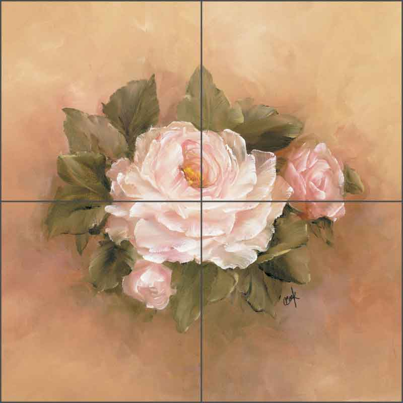 Burnished Roses Square I by Carolyn Cook Ceramic Tile Mural - CC004