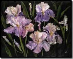 "Cook Iris Floral Tumbled Marble Tile Mural 30"" x 24"" - CC005"