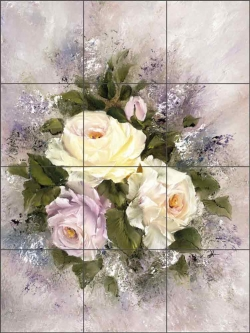 Lavender Rose II by Carolyn Cook Ceramic Tile Mural CC008