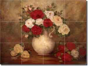 "Cook Floral Rose Glass Wall Floor Tile Mural 24"" x 18"" - CC010"