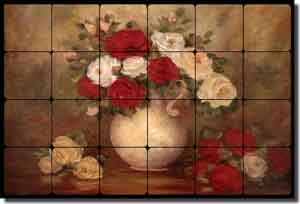 "Cook Floral Rose Tumbled Marble Tile Mural 24"" x 16"" - CC010"