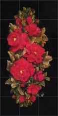 Red Florals II by Carolyn Cook Ceramic Tile Mural - CC012