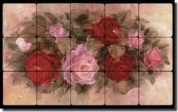"Cook Roses Floral Tumbled Marble Tile Mural 20"" x 12"" - CC014-L"