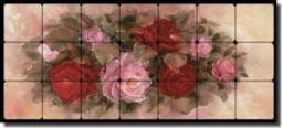 "Cook Roses Floral Tumbled Marble Tile Mural 28"" x 12"" - CC014-L"