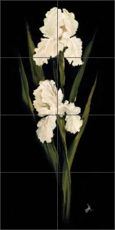White Iris II by Carolyn Cook Ceramic Tile Mural - CC016