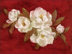 White Magnolias II by Carolyn Cook Ceramic Tile Mural CC017