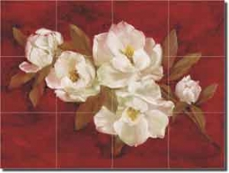 "Cook Magnolia Floral Glass Wall Floor Tile Mural 24"" x 18"" - CC017"