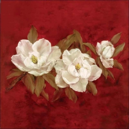 White Magnolias I by Carolyn Cook Ceramic Accent & Decor Tile - CC018AT