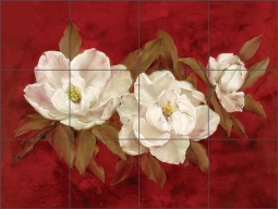 White Magnolias I by Carolyn Cook Ceramic Tile Mural - CC018