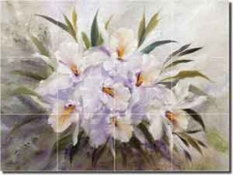 "Cook Orchids Flowers Glass Tile Mural 24"" x 18"" - CC021"