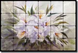 "Cook Orchids Flowers Tumbled Marble Tile Mural 24"" x 16"" - CC021"