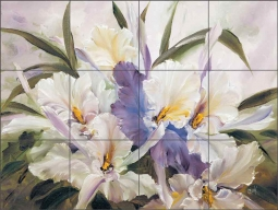 Orchids Play by Carolyn Cook Ceramic Tile Mural - CC022