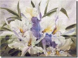 "Cook Orchids Floral Glass Tile Mural 24"" x 18"" - CC022"