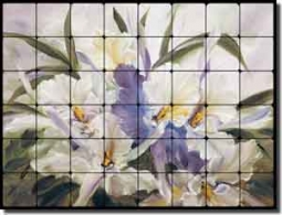 "Cook Orchids Floral Tumbled Marble Tile Mural 32"" x 24"" - CC022"