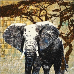 Wild Savannah - Elephant by Aurelia Manouvrier Ceramic Tile Mural - CCI-AM-WS03