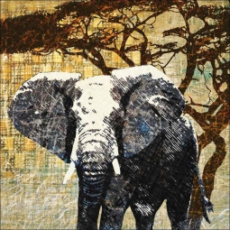 Wild Savannah - Elephant by Aurelia Manouvrier Ceramic Accent & Decor Tile - CCI-AM-WS03AT