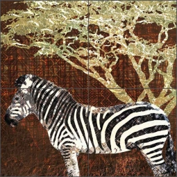 Wild Savannah - Zebra by Aurelia Manouvrier Ceramic Tile Mural - CCI-AM-WS09