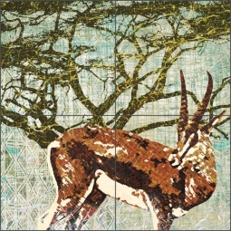 Wild Savannah - Gazelle by Aurelia Manouvrier Ceramic Tile Mural - CCI-AM-WS10