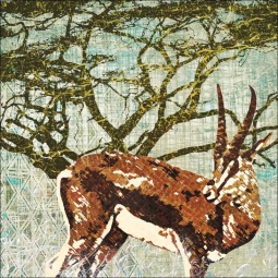 Wild Savannah - Gazelle by Aurelia Manouvrier Ceramic Accent & Decor Tile - CCI-AM-WS10AT