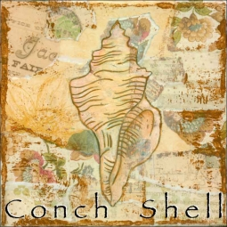 Sea Life: Conch Shell by Bridget McKenna Ceramic Accent & Decor Tile - CCI-BRI251AT