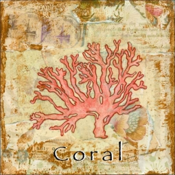Sea Life: Coral by Bridget McKenna Ceramic Accent & Decor Tile - CCI-BRI252AT