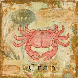 Sea Life: Crab by Bridget McKenna Ceramic Accent & Decor Tile - CCI-BRI253AT
