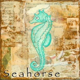 Sea Life: Seahorse by Bridget McKenna Ceramic Accent & Decor Tile - CCI-BRI260AT