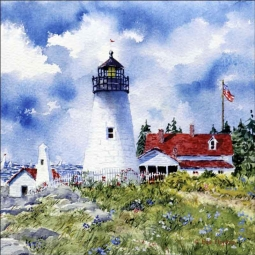 Pemaquid Point Light by Edie Hopkins Ceramic Accent & Decor Tile - CCI-EH106AT