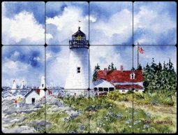 Pemaquid Point Light by Edie Hopkins Tumbled Marble Tile Mural - CCI-EH106