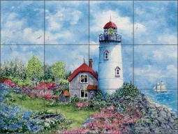 Old Light Chatham by Edie Hopkins Ceramic Tile Mural - CCI-EH155
