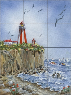 Cliff Point Light by Edie Hopkins Ceramic Tile Mural - CCI-EH219