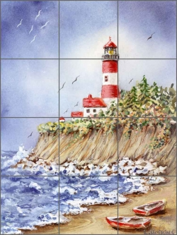 Jackson Point Light by Edie Hopkins Ceramic Tile Mural - CCI-EH220