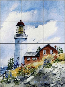 Sequin's Island Light, Maine by Edie Hopkins Ceramic Tile Mural - CCI-EH61
