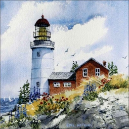 Sequin's Island Light, Maine by Edie Hopkins Ceramic Accent & Decor Tile - CCI-EH61AT