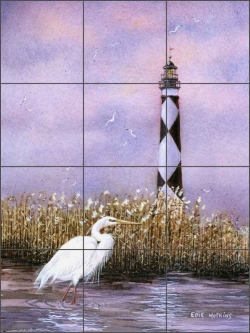 Diamond Point Light by Edie Hopkins Ceramic Tile Mural - CCI-EH74