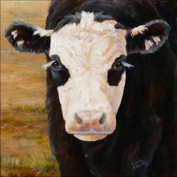 Black Baldie Calf by Linda Elliott Ceramic Accent & Decor Tile - CCI-LE204AT