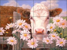 In Daisies by Linda Elliott Ceramic Tile Mural - CCI-LE2T