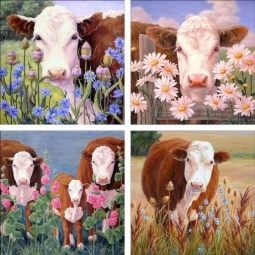 Cows I by Linda Elliott Ceramic Accent & Decor Tile Set - CCI-LEATSet1
