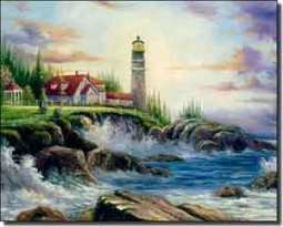 "Ching Lighthouse Seascape Ceramic Accent Tile 10"" x 8""  - CHC066"