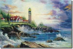 "Ching Lighthouse Seascape Glass Tile Mural 36"" x 24"" - CHC066"