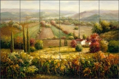 Golden Landscape by C. H. Ching Ceramic Tile Mural - CHC068