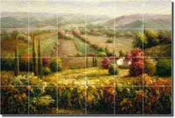 "Ching Tuscan Vineyard Landscape Glass Tile Mural 36"" x 24"" - CHC068"