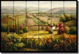 "Ching Tuscan Vineyard Tumbled Marble Tile Mural 24"" x 16"" - CHC068"
