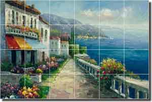 "Ching Seascape Waterfront Ceramic Tile Mural 25.5"" x 17"" - CHC069"