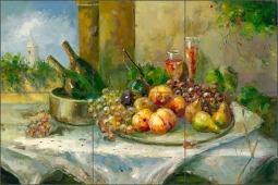 Fruit and Wine by C. H. Ching Ceramic Tile Mural - CHC070