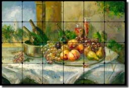 "Ching Fruit Wine Tumbled Marble Tile Mural 24"" x 16"" - CHC070"