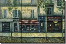 "Ching Paris Cafe Art Ceramic Tile Mural 18"" x 12"" - CHC072"