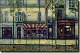 "Ching Paris Cafe Art Ceramic Tile Mural 25.5"" x 17"" - CHC072"