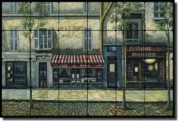 "Ching Paris Cafe Art Tumbled Marble Tile Mural 24"" x 16"" - CHC072"